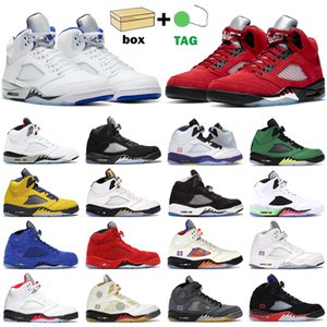 Chaussures de basket hommes jumpman 5s Raging Red 5 Stealth 2.0 Fire What The White Cement Metallic Olympic Blue Suede baskets de sport pour hommes