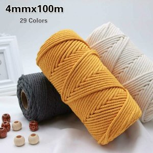4mm Cotton Cord Colorful Macrame Rope Cord Beige Twisted Craft Macrame String DIY Wedding Home Textile Decorative supply 100M
