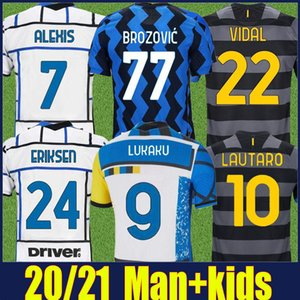 The Nerazzurri Inter Eriksen Lautaro Lukaku Soccer Jerseys Skriniar Barella Alexis Fútbol Jersey Man Kit Kids Brozovic Vidal T Shirts Mangas cortas 20/21