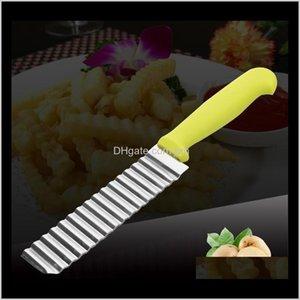 Frutta Verdura Cucina Cucina, Sala da pranzo Bar Giardino da giardino Consegna a goccia 2021 Est acciaio inox onda onda taglio taglio coltello corrugato fritte c