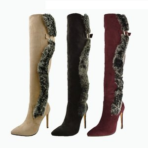 Boots plus size 34 42 to 46 47 48 with box sexy women fur heel over the knee thigh high