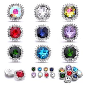 Rhinestone 18mm Snap Button Clasp Silver Color Metal charms for Snaps Jewelry Findings
