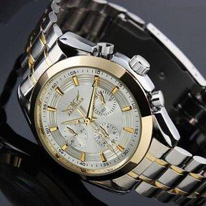Classic White cadran 6 mains Mens auto montre-bracelet mécanique jour Date de 24h de 24 heures d'acier inoxydable montres mâle montre-bracelet d'horloge mâle