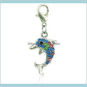 Arrival Fashion Dangle Rhinestone Dolphin Animals With Lobster Clasp Diy Jewelry Making Accessories Bwicw Vks8G