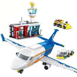 864 шт. Городской пассажирский самолет аэропорт набор блоков игрушки самолет самолета