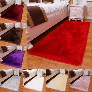 Carpets Imitation Wool Pad Floor Mats Plush Soft Bedroom Carpet Long Hair Bedside Mat Sofa Cushion White Rugs Living Room Fur