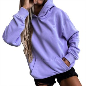 Harajuku Hoodies Solid Color Hooded Tops Women Men O Neck Sweatshirt Long-sleeved Winter Plus Velvet Thickening Coat Streetwear Women's & Sw