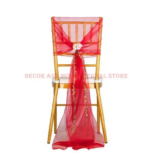 Red Organza Chair Cap Outdoor Wedding El Banquet Sash With Flower Decor Hood For Chiavari Wholesale Sashes