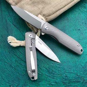 High End Small Ball Bearing Flipper Folding Knife 14C28N Satin Blade TC4 Titanium Alloy Handle Outdoor EDC Pocket Fold Knives