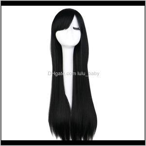 Long Straight Cosplay Wig Black Purple Pink Blue Sliver Gray Blonde White Orange Brown 80 Cm Hair N1Nkn Cbrhb
