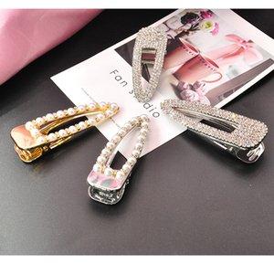 Diamond word Korean headdress female adult pearl edge hairpin banger duck beak clip