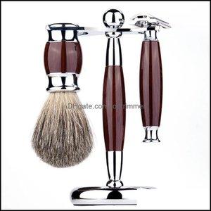 Blades Removal Health & Beautymens Resin Vintage Razors Set Beard Brush Metal Alloy Badger Hair Household Face Brushes Shaving Barber Tools