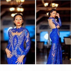 Aso Ebi 2020 Arabic Lace Royal Blue Mermaid Evening Dress Beaded Crystals Prom Dresses Long Sleeves Formal African Party Pageant Gowns