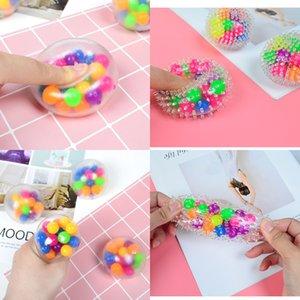 1Lot = 24pcs = DHL Sensorio Squeeze Sprems Balls Finger Fun Giocattoli 6cm 5.5 cm Palloncini trasparenti a peloso con palloncino colorato con palla da perle colorata TPR impastare la palla di pasta H33HRJ7