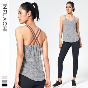 Lulu Sports Women's Summer Fitness Running Yoga Suit Quick Drying Breathable T-shirt with Bra Sleeve Less Sling Vest