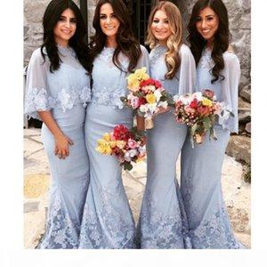Spaghetti-Riemen Schatz, Baby-blaue Meerjungfrau-Spitze, die Brautjungfernkleider mit Applique-Chiffon-Tuch und Spitzen-Saum kassiert