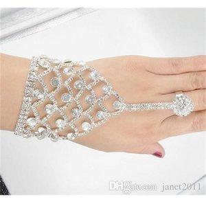 Hermosa boda Perla Rhinestone con anillos Bridal Hand Harness Bangle Slave Cadena Brazaletes Anillo de dedo