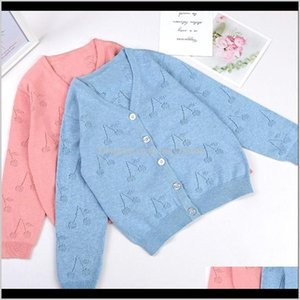 Clothing Baby Maternity Drop Delivery 2021 Bp Style Springautumn Bluepink Cherry Cardigan Wool For Baby Girl Kids Knitted Sweaters Knitwear C