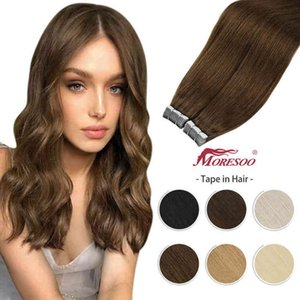 [Free Tape] 18 Color Tape in Extension Hu Machine Remy PU Weft 12-24 Inch Straight Brazilian Hair Glue on Real