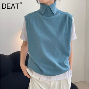 Women Loose Fit Khaki Big Size Vintage Knitting Vest Turn Down Colllar Sleeveless Fashion Spring Autumn GX330 210421