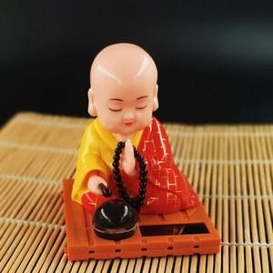 Car Ornament Cute Shaking Head Solar Monk Creative Decoration Little Novice His Toy