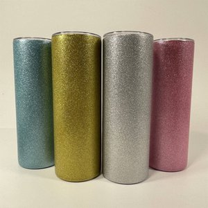 Sublimation Straight Tumbler 20oz Glitter Thermal Transfer Cup Stainless Steel Coffee Mug Insulation Water Bottle A02