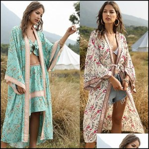 Er-Ups Swimming Equipment Sports & Outdoorser-Ups Bohemian Printed Summer Women Beach Wear Swim Suit Bikini Er Up Plus Size Long Kimono Saro