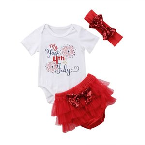 Baby Girl Rompers Set Girl Printing Short Sleeve Tops Gauze Shorts Set American Flag Independence National Day USA 4th July With Headband