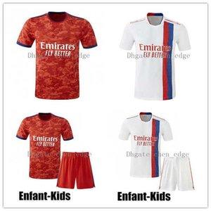 Olympique Lyonnais Lyon Soccer Jersey 21 22 Mailoot de Foot 2021 2022 Maillots de Футбольная футболка Traore Memphis OL Мужчин + Детский Комплект Униформа