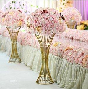 Floor Vase Metal Flower Vase Columns Aisle Pillar Table Centerpiece For Marriage gold Metal Flowers Vases Road Cited For Wedding Decoration