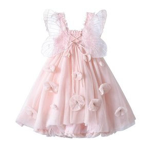 Girl's Dresses Girls butterfly Wing Princess Clothes Flower Party Tutu Pettiskirt Formal Pageant 1-8T B4508