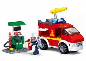 Kids Fire Truck Car Model Toy Wholesale Mini Building Blocks Fireman Figure Dolls Creative Puzzle Bricks Gifts