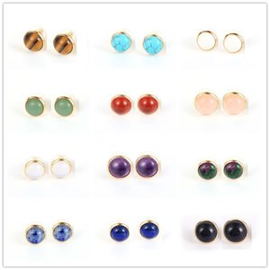 Fashion Natural Stone Gold Plated Stud Earrings Druzy Crystal Pink Asymmetry Geometric Earring Women Girl Date Jewelry gift