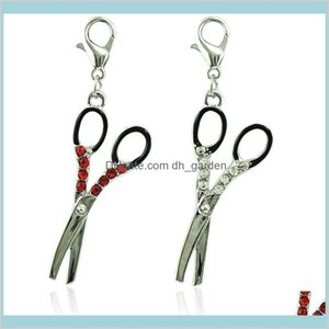 Findings Components Drop Delivery 2021 Fashion Bulk Floating Lobster Clasp Dangle Sier Plated Rhinestone Scissor Charms Diy For Jewelry Makin