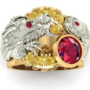 Cluster Rings Gorgeous Double Dragon Play Ball Animal Jewelry Silver Gold Two Tone Red Beaded Zircon Rhinestone Ring Z4Z046