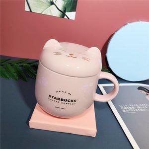 Starbucks Cherry Blossom Cat Mug Tumbler 350ml Sakura Ceramic Coffee Drink Cup with Cover
