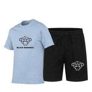 Мужские трексуиты Черный банановый футболка с короткими рукавами летний прилив Марка 2021 Свободная тренд одежда красивый