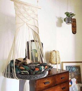 Новый кот качели гамак бого стиль клетки клетки ручной работы висит стул сном сиденья кисточки кошек игрушка играют хлопчатобумажные веревки домашние животные дома EWA5594