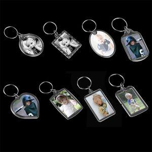 30 Pieces Keychain Blank Photo Insert Display Frame Split Keyring Gifts 210410