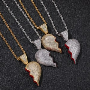 Custom Separable Broken Hearts Pandent CZ Pendant Necklace Hip Hop Full Iced Out Cubic Zirconia Gold Sliver Necklaces