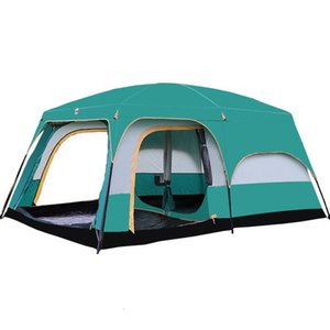 Large Camping Tent Double Layers Waterproof 6-10 Person 430x305x200cm Two Bedroom One Living Room Family Party Tents And Shelters