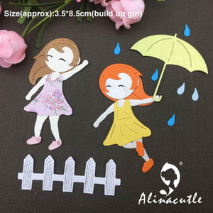 Painting Supplies METAL CUTTING DIE Cut Doll Alinacraft Happy Girl Umbrella Fence Rain Scrapbook Paper Craft Card Punch Knife Art Cutt