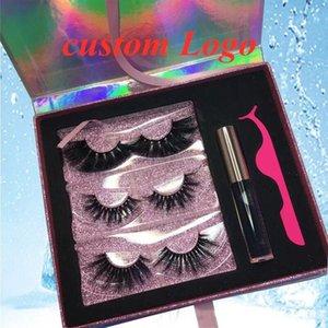 10 20 50 set 3 Pairs Eyelash Case With Tray Bulk Mink Eyelashes Custom Box Packaging Empty Lash Print Logo Mirror False