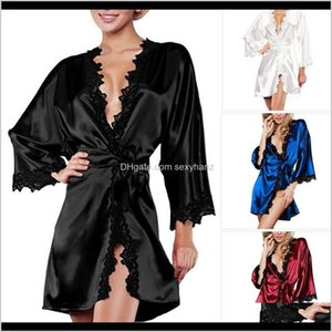 Womens Apparel Drop Delivery 2021 Summer Sexy Women Satin Lingerie Robe Dress Sleepwear Nightwear Underwear G-String Black White Plus Size S-