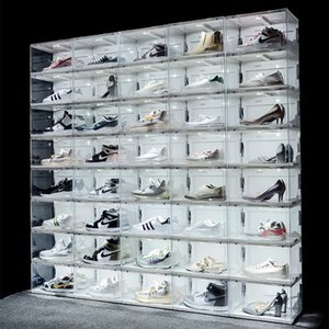 New Sound Control LED Light clear Shoes Box Sneakers Storage Anti-oxidation Organizer Shoe Wall Collection Display Rack
