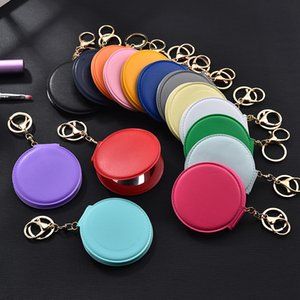 PU Leather Car Key Chains Rings Double-Sided Folding Round Makeup Mirror Keyrings Holder Women Bag Pendant Portable Fashion Keychains Charms Jewelry Accessories