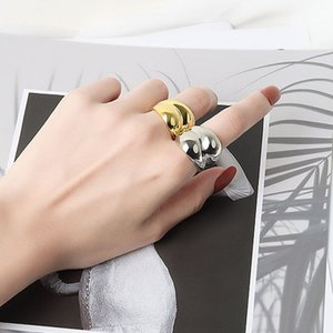 Simple Korean Style Glossy Wide Ring Cluster Fashion Personality Index Finger Rings Jewelry Gift NJ641