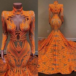 2021 Оранжевый Русалка Выпускные Платья Длинные Рукава Кружева Свешеченные Африканские Черные Девушки Рыбилка Вечернее ношение Плюс Размер