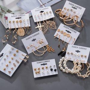 Womens Earrings Korean Stud Earrings for Women Vintage Pearl Butterfly Gold Cross Earring Set 2021 Trend Earings Female Jewelry