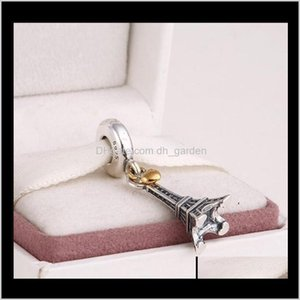 Jewelry Rterling Sier Eiffel Tower Dangle Charms Pendant With 14K Gold Plated Heart For Women Fits European Bracelets Ps2063 Mg8P5 5498X